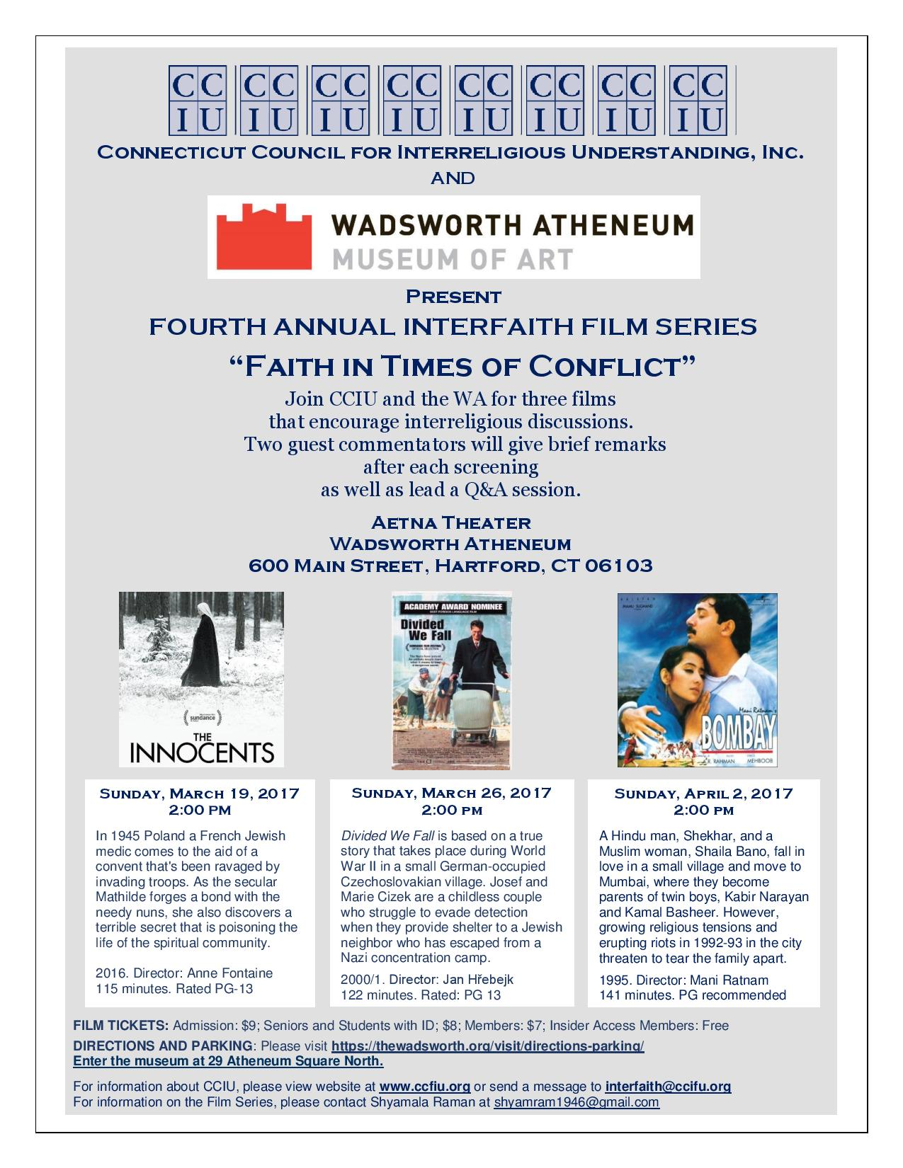 Fourth Annual Interfaith Film Series Poster