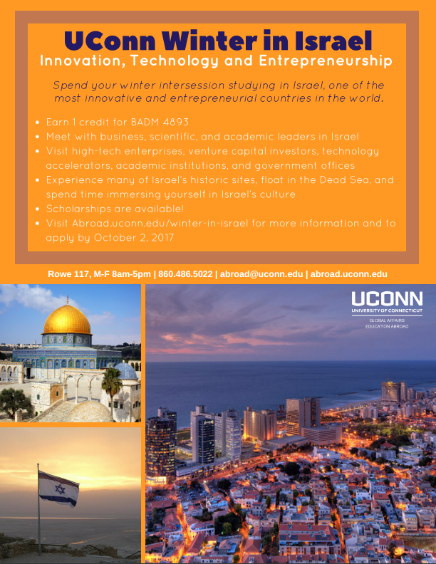 UConn winter in Israel. Study Abroad