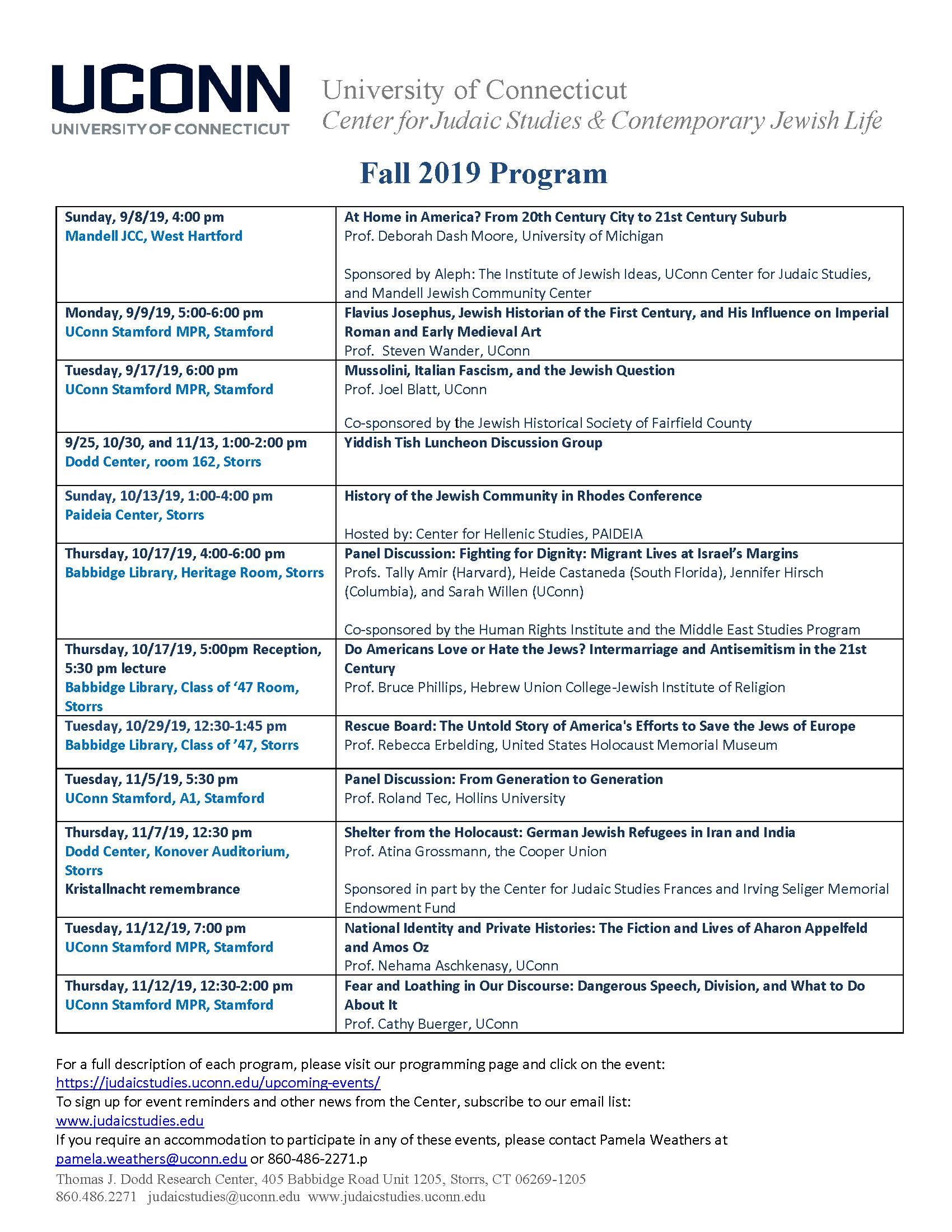 Fall 2019 Program UConn Center for Judaic Studies