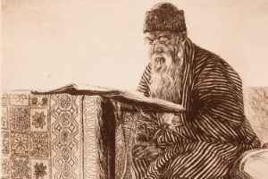 Talmud Torah, by Ephraim Moshe Lilien Etching on paper public domain